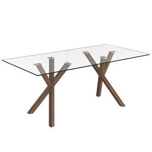 Table de salle à manger WHI contemporaine en verre clair et métal noyer, 71 po