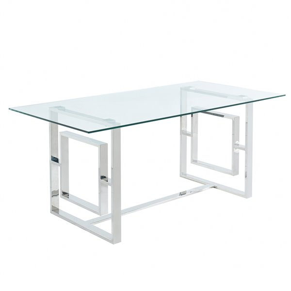 Table à manger !nspire contemporaine verre clair et chrome, 71 po