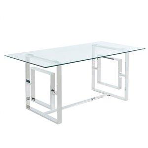 Table à manger !nspire contemporaine verre clair et chrome, 71 po