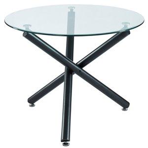 Table à manger WHI  ronde contemporaine avec verre et fini noir, 40 po