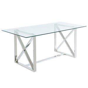 Table salle à manger !nspire contemporaine verre clair et chrome, 71 po