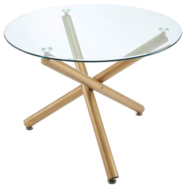 !nspire Contemporary Round Clear Glass Dining Table - Gold - 40-in