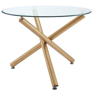 Table à manger !nspire ronde contemporaine en verre clair et or, 40 po