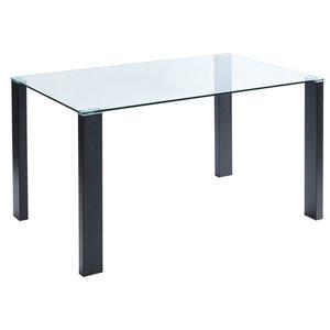 Table à manger WHI contemporaine verre et noire , 55 po