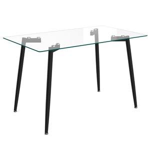 Table de salle à manger WHI contemporaine en verre clair et métal noir, 47.25 po