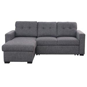 Sofa modulaire contemporain !nspire avec lit et espace de rangement, gris charbon, 63.5 po x 93.25 po x 37.5 po