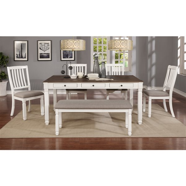 WHI Rustic Dining Table - Antique White - 66-in
