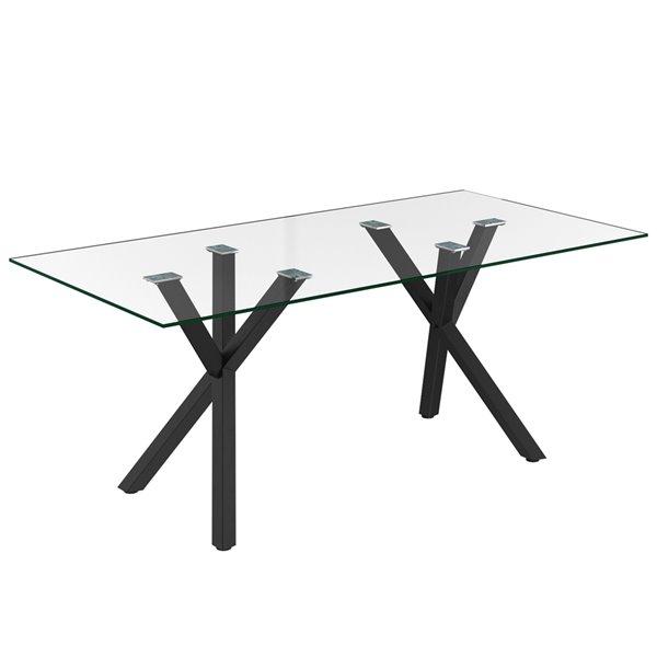 Table de salle à manger WHI contemporaine en verre clair et métal noir, 71 po
