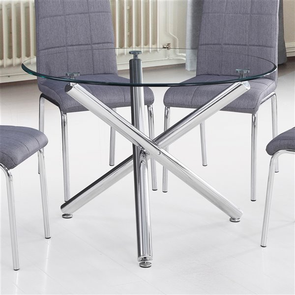Table à manger WHI  ronde contemporaine en verre et chrome, 40 po