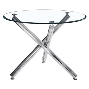 WHI  Contemporary Round Glass Dining Table - Chrome - 40-in