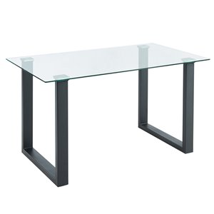 Table à manger WHI contemporaine verre et noire, 55 po