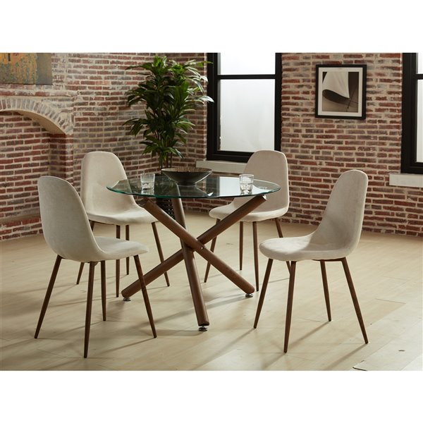 WHI Contemporary Round Glass Dining Table - Walnut - 40-in