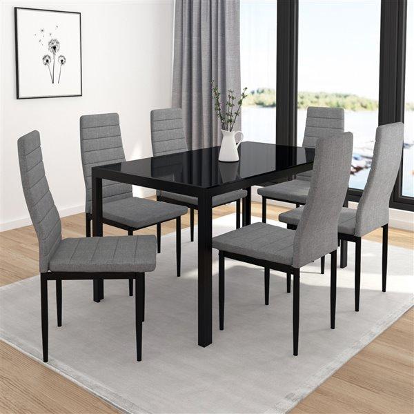 Table à manger WHI contemporaine dessus en verre trempé noir, 55 po