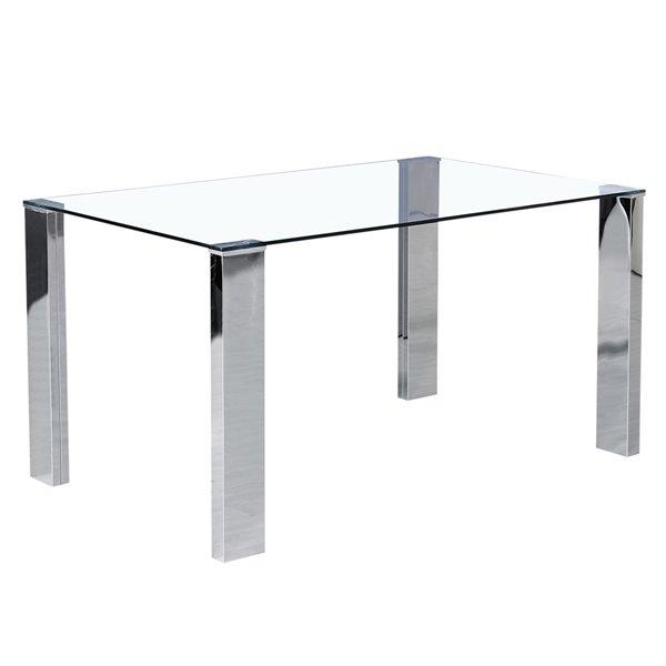 Table à manger WHI  contemporaine ronde en verre clair et acier inoxydable, 55 po