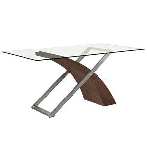 Table de salle à manger !nspire contemporaine avec verre clair et fini noyer, 71 po