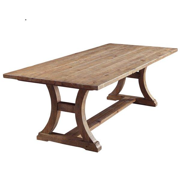 Table salle à manger !nspire en bois massif en pin d'époque, 77 po