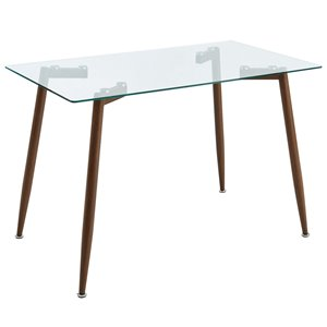 WHI  Contemporary Glass Dining Table - Walnut - 47-in