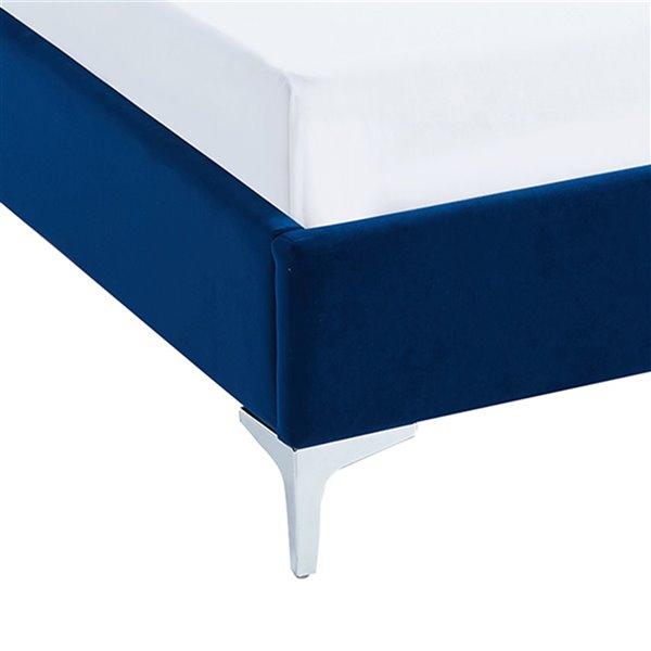 !nspire Velvet Platform Bed - Blue - King