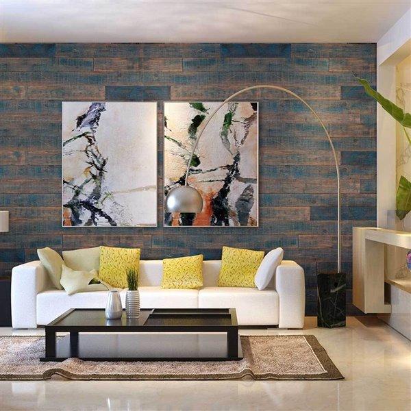 Panneau mural effet de bois recyclé ISH d'AS-IS BRAND -5 po x 4 pi, blue
