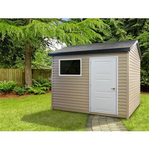 Riopel William Storage Shed - Beige Vinyl - 8-ft x 10-ft - REQUIRES ASSEMBLY