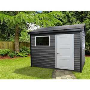 Riopel William Storage Shed - White and Grey Vinyl - 8-ft x 10-ft - REQUIRES ASSEMBLY