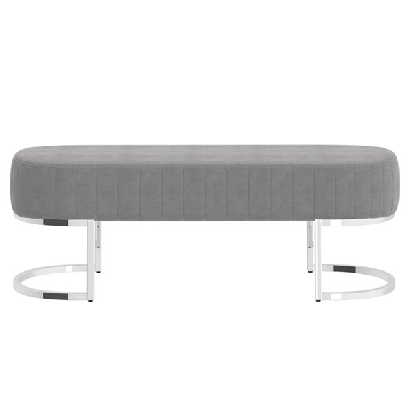 !nspire Contemporary Velvet and Metal Bench - Silver and Gray - 17-in x 47-in