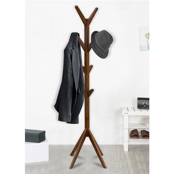 WHI Zayn Solid wood Coat Tree - Walnut - 17.25-in x 17.25-in x 69-in H