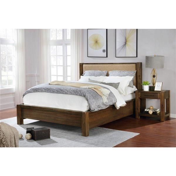 WHI Solid Wood Platform Bed - Walnut - Queen