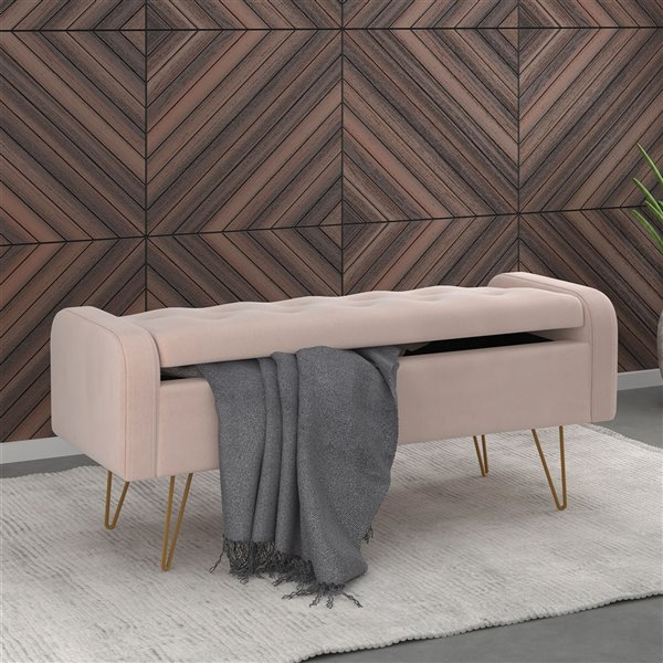 !nspire Velvet Storage Ottoman - Blush Pink and Gold - 15.5-in x 39.5-in