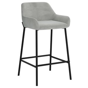 !nspire Baily Modern Upholstered Counter Stool - Gray - 26-in - Set of 2