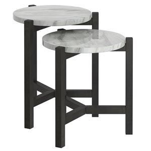 Tables d'appoint !nspire en simili-marbre, grise, 19.75 po, ens. de 2
