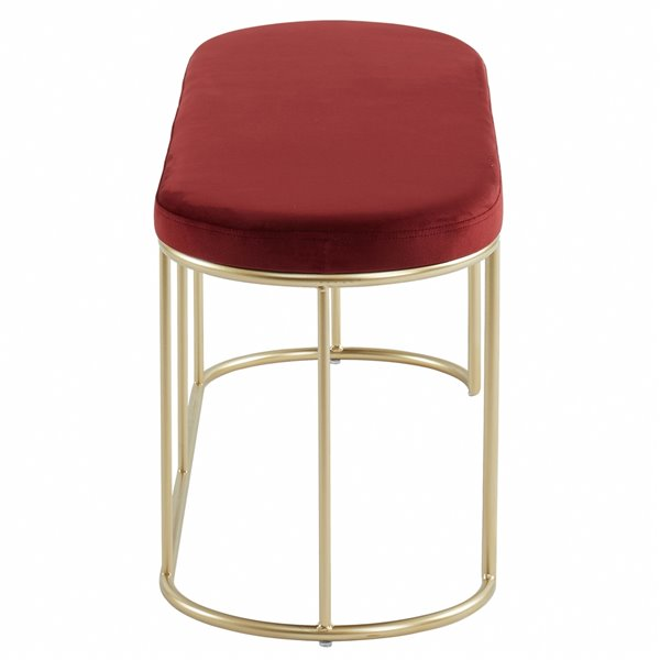 WHI Bench Burgandy Velvet and Gold metal  - 41.75-in x 17.25-in