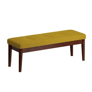 WHI Mid Century Upholstered and Wood Bench - Walnut and Mustard - 16.5-in x 48-in