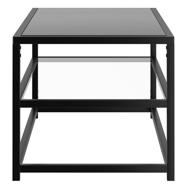 !nspire Contemporary Coffee Table Metal and Glass - Black - 43.50-in x 21.75-in x 18-in H