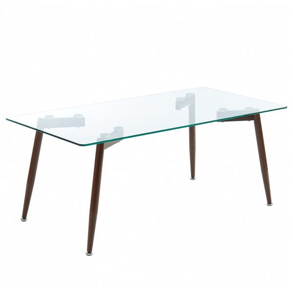 WHI Contemporary Glass Coffee Table - Walnut - 44-in x 22-in x 17-in H