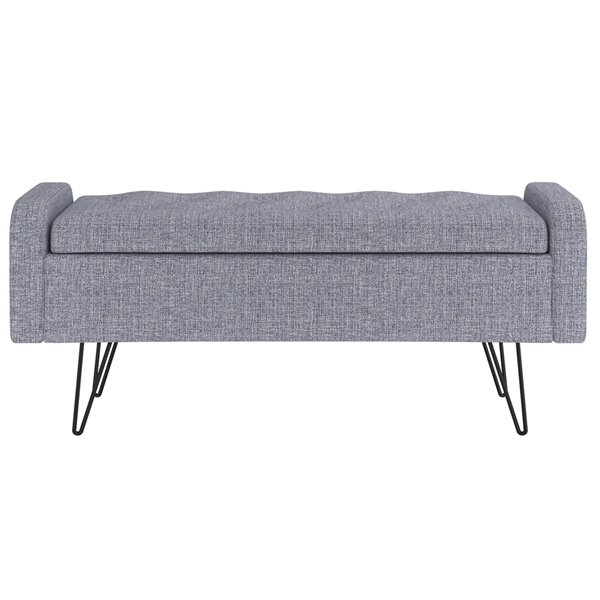 !nspire Upholstered Storage Ottoman - Gray and Black - 15.5-in x 39.5-in