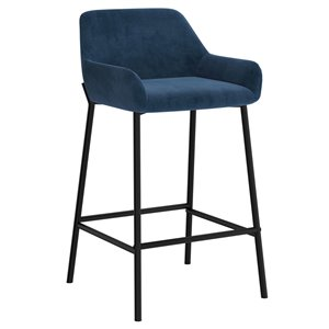 !nspire Baily Modern Upholstered Counter Stool - Blue - 26-in - Set of 2