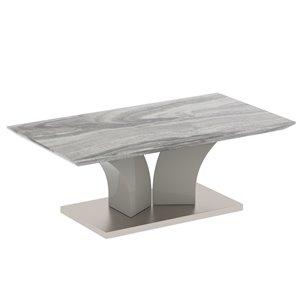 Table de salon !nspire contemporaine en simili-marbre, grise, 42.25 po x 23.75 po x 15.75 po