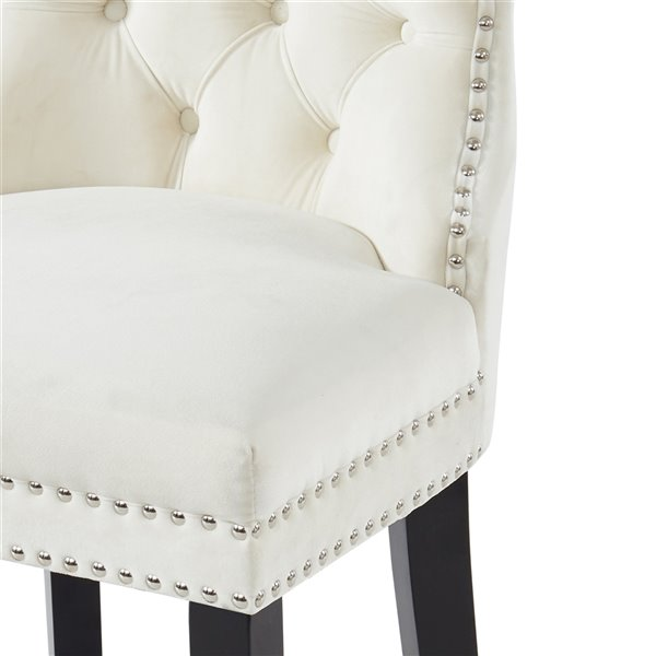 WHI Rizzo Velvet Counter Stool - Ivory and Coffee Legs - Set of 2