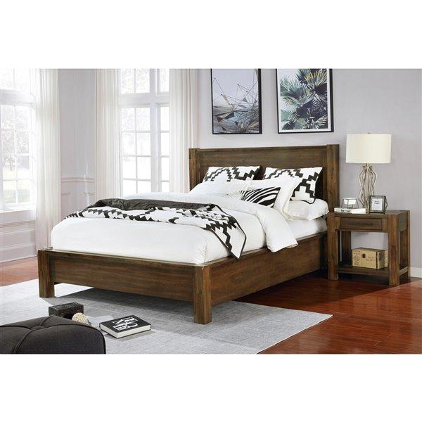 WHI Solid Wood Platform Bed - Walnut - King