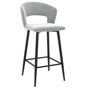 !nspire Camille Modern Upholstered Counter Stool - Light Gray - 26-in - Set of 2