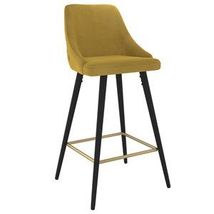 !nspire Roxanne II Modern Upholstered Counter Stool - Mustard - 26-in - Set of 2