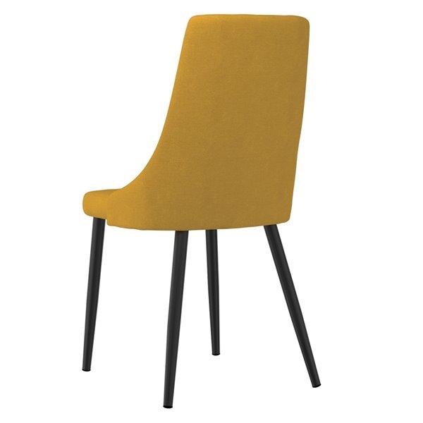 Chaises d'appoint WHI Venice rembourrées de mi-siècle, jaune moutarde, ens. de 2