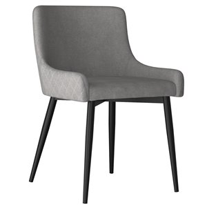 !nspire Bianca Mid Century Upholstered Side Chairs - Gray and Black Legs - Set of 2