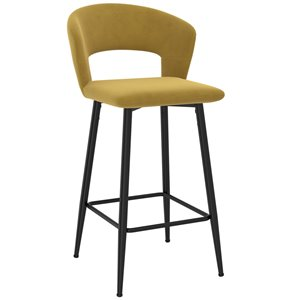 !nspire Camille Modern Upholstered Counter Stool - Mustard - 26-in - Set of 2