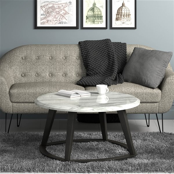!nspire Contemporary Faux Marble Round Coffee Table - Dark gray - 38-in x 38-in x 19-in H