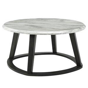 Table de salon !nspire contemporaine ronde en simili-marbre et gris foncé, 38 po x 38 po x 19 po