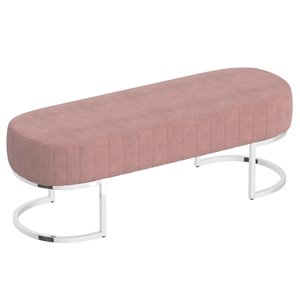 !nspire Contemporary Velvet and Metal Bench - Silver and Dusty Rose - 17-in x 47-in