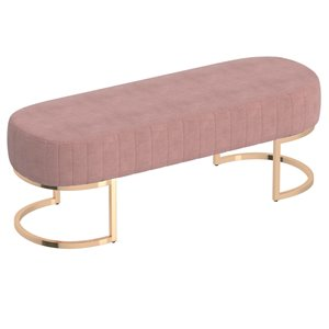 !nspire Contemporary Velvet and Metal Bench - Gold and Dusty Rose - 17-in x 47-in