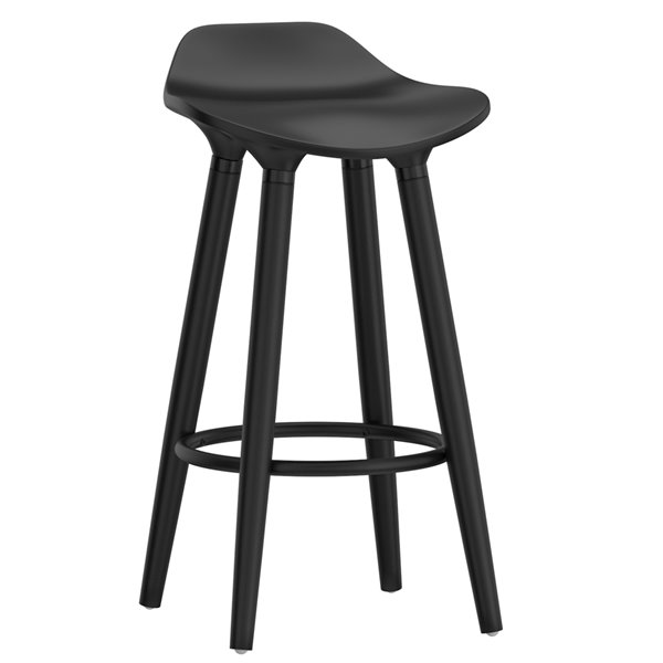!nspire Trex Mid-Century Counter Stool - Black - 26-in - Set of 2